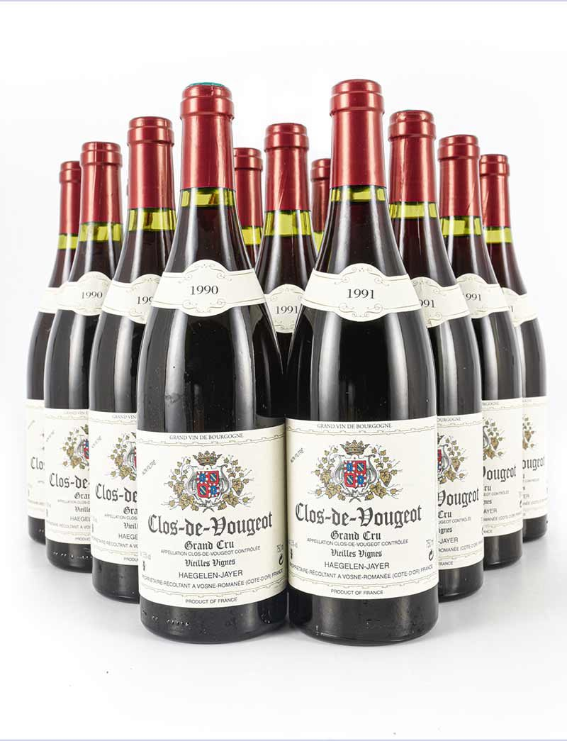 Lot 1042-1045: parcels of 12 bottles 1990 and 1991 Haegelen-Jayer Clos Vougeot Vieilles Vignes