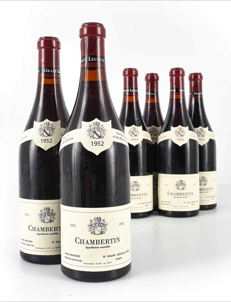 Lot 1122: 6 bottles 1952 J. Drouhin (Grafe Lecocq) Chambertin
