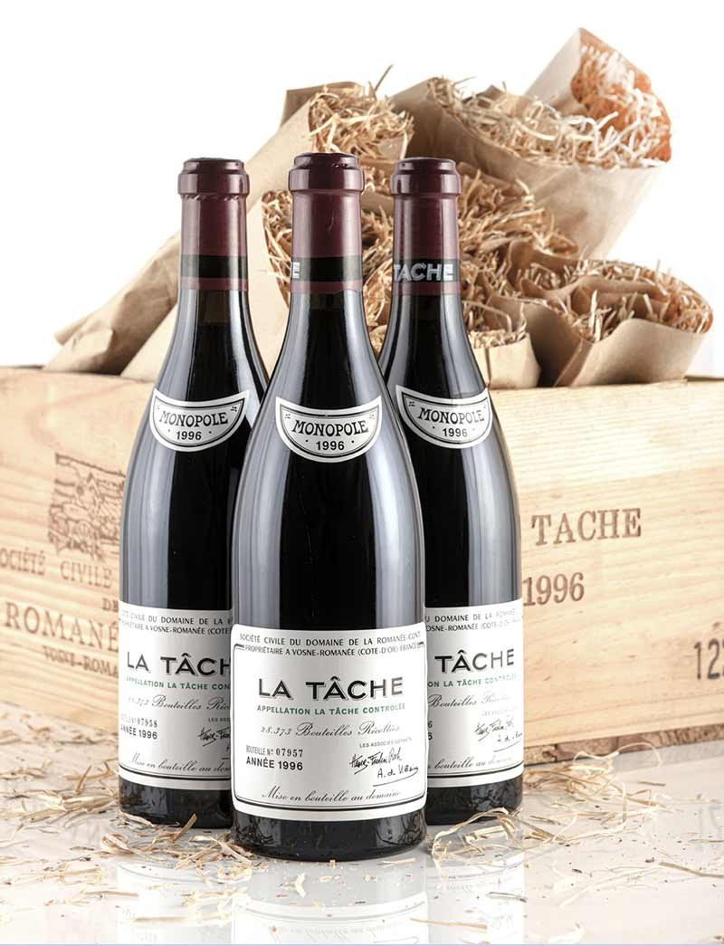 Lot 701: 3 bottles 1996 DRC La Tache in OWC