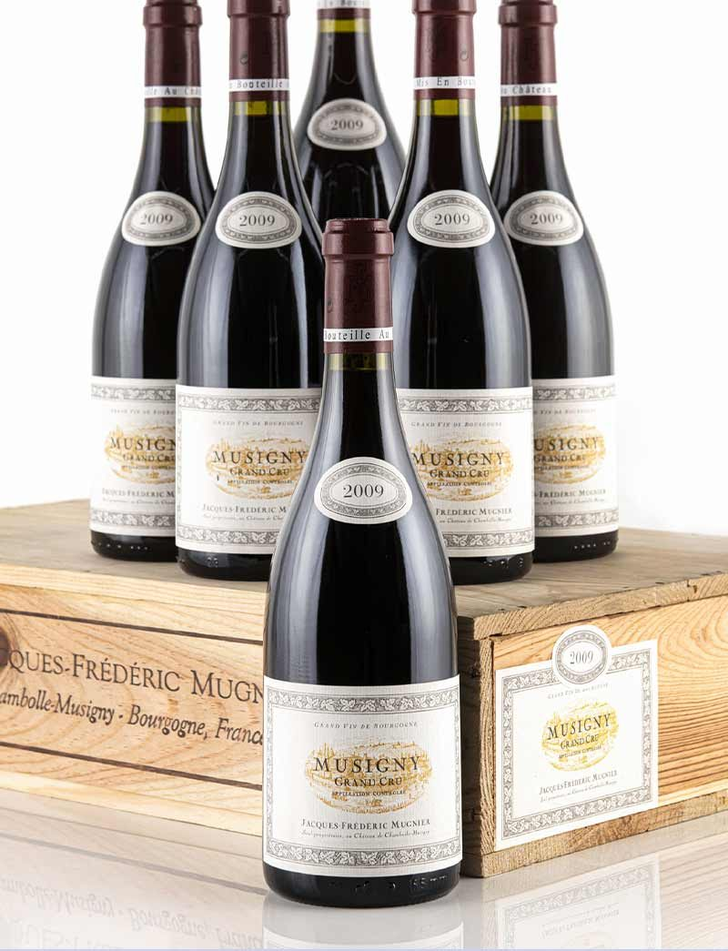 Lot 755: 6 bottles 2009 J.F. Mugnier Musigny in OWC