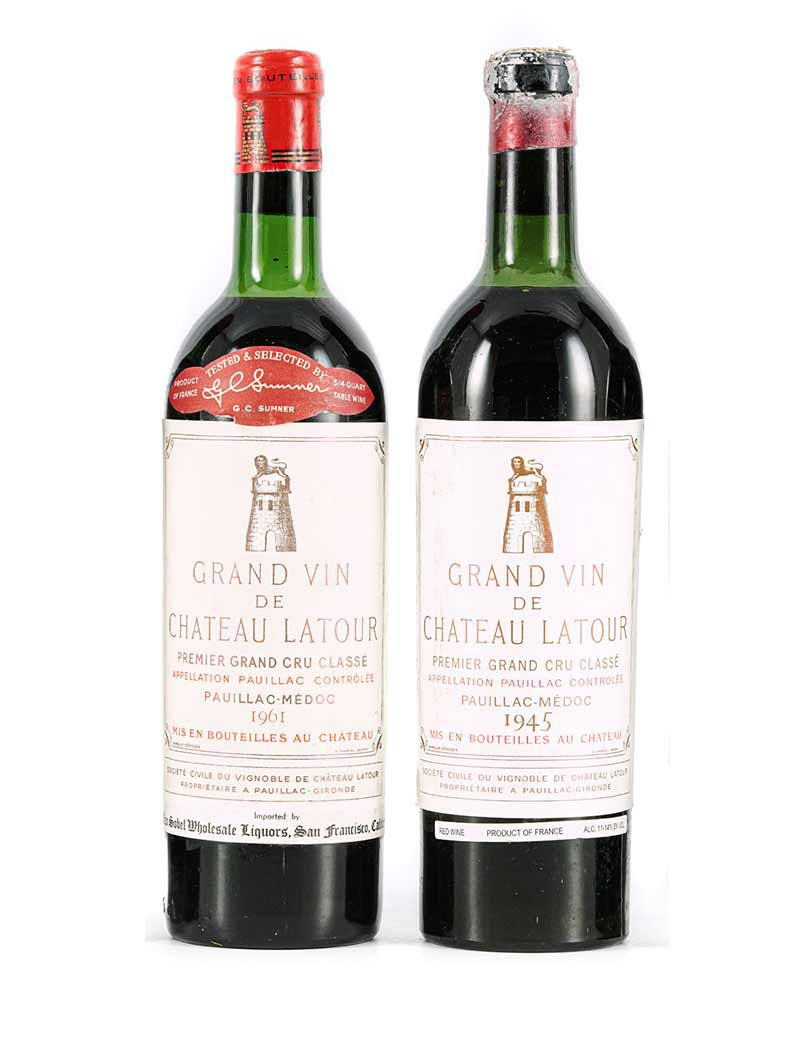 Lot 845, 847: 2 bottles 1945 and 1 bottle 1961 Chateau Latour